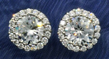 4 ct.tw Halo Earrings Top Russian CZ moissanite simulant Sterling Silver