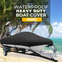 14-16FT Trailerable Boat Cover V-Hull Fishing Ski 600 Denier Waterproof Black