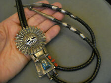 """THOMAS BYRD RED MESA turquoise sterling silver sunface bolo tie 4 1/8"""" x 2 1/2"""""""