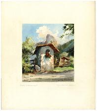 Käfferlein: Oberammergau, signiertes Original-Aquarell um 1950.