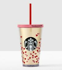Starbucks 2017 Valentines TINY HEARTS COLD CUP 16 oz NEW