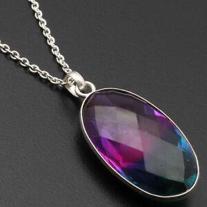 """Ametrine Quartz Sterling Silver Plated Necklace 24"""" Gemstone Jewelry W17028"""