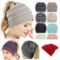 Women BeanieTail Messy Soft Stretch Winter Warm Pony Tail Beanie Hat Knit Cap AU