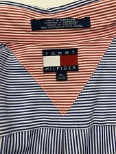 Tommy Hilfiger Flag Logo Long Sleeve Button Down Blue Stripe Xl Extra Large