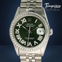 Rolex Datejust 36mm Stainless Steel Green Diamond Roman Dial & Bezel Watch