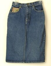 Womens Denim Jean Skirt Sz 8 Tapestry Inset Straight Pencil 26 inch waist JAG