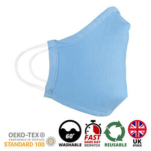 Face Mask Breathable Washable Light Blue Reusable Face Mouth Protection UK