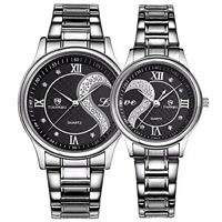 Stainless Steel Romantic Pair His and Hers Wrist Watches for Men & Women