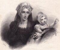 Marie-Caroline de Bourbon-Siciles Duchesse de Berry et sa Fille Louise d'Artois