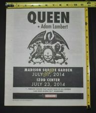 Queen Adam Lambert 2014 Concert Ad Msg Izod Center Nyc