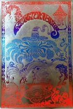 More details for glastonbury festival 70's, vintage repro psychedelic poster, silver foil