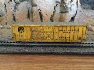 N Scale Life like 50' double door boxcar ESLJ EAST StLOUIS  mtl cplrs weathered