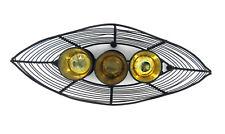 STRAITS Marrón Barco diseño con 3 DORADO Portavelas 11186