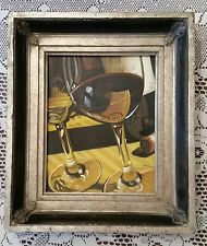 Realistic Style Painting of Red Wine in Glass Still Life 8x10 Heavy Frame