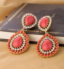 """Zara Bella Corallo Rosso 2 3/4"""" Goccia Dangle Earrings – NUOVO"""