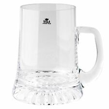NEW CLEAR GLASS CROWN BEER MUG 400mls FATHER DAD GIFT