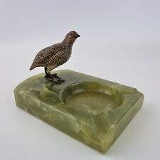More details for early 20th century vintage onyx ashtray mounted cold painted bronze partrige