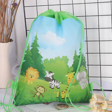 Jungle Animals Drawstring Bag Travel Storage Bag Backpacks Kids Birthday Gift CA