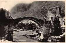 Mostar Bosnia Bridge Scenic View Real Photo Antique Postcard J74383
