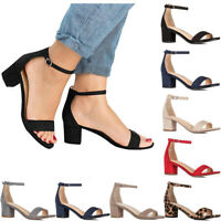Women's Mid High Heels Block Ankle Strap Chunky Sandals Party Dress Pumps Shoes