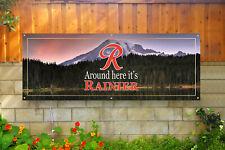 "Rainier Beer ""Around Here It'S"" vintage art sign banner poster retro style"
