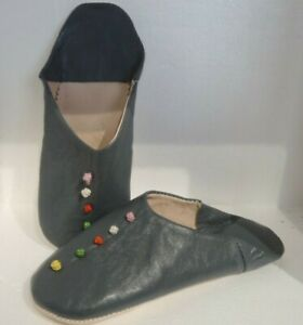 MOROCCAN SOFT LEATHER SLIPPERS * CHARCOAL GREY * ALL SIZES