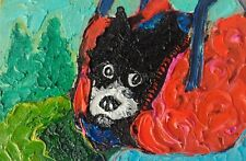 "Original oil painting Dog in bag 6x4""(10x15 cm) autsaiderart without frame"