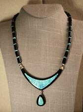"""Jay King Mine Finds Inlaid Turquoise & Onyx Bead 18"""" Sterling Silver Necklace"""