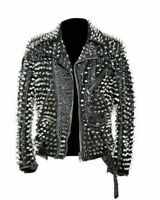 Handmade Men's Black Fashion Studded Punk Style Leather Jacket