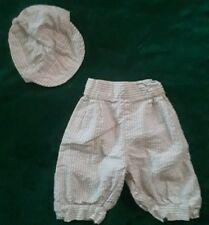Vintage Boys Seersucker Pinstripe Pants Knickerbockers Cabbie Hat Outfit 6-9 Mos