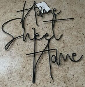 NWT LARGE HOME SWEET HOME BLACK METAL WALL HANGING