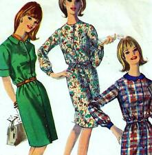 "Vintage 60s Mod DRESS Sewing Pattern Bust 34"" Size 10 Shirtdress RETRO 3 Styles"