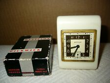 Vintage 1936 Westclox Pickwick Ivory Travel Clock Made in U.S.A. in Orig. Box