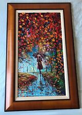 "(OL.VII) ORIGINAL Oliviya,""RAINY DAY"" Oil on canvas. Framed on board. Fine Art"