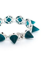 Eddie Borgo Teal Sea Green Frosted Glass Cone Bracelet