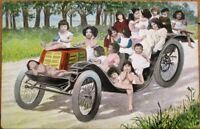 Multiple Baby 1905 Postcard: Babies in Early Car/Automobile