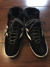 Tretorn High Tops Hylite Suede Fur Lined Shoes Size 10.5 Black NEW