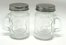 Clear Glass Salt & Pepper Shakers Handle Mason Jar Style Country Metal Lid NEW