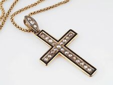 antiker Kreuz Anhänger Kette 0,70 Karat Diamanten Emaille 585 Gold
