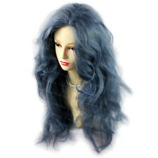 Romantic Sexy Wild Untamed Long Curly Wig Gray Blue Hair Ladies Wigs WIWIGS UK