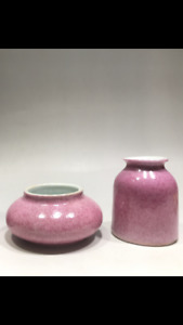 Lovely pink Chinese antique ceramic water bowl X2