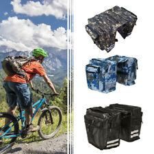 UK Double Panniers Bag Bike Bicycle Cycling Rear Seat Trunk Rack Pack Waterproof