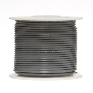 """18 AWG Gauge Stranded Hook Up Wire Gray 100 ft 0.0403"""" UL1015 600 Volts"""