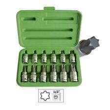 """12pc Socket Torx Kit Set 1/2"""" Inch Drive T20 - T100 Male Star Sockets Bit Set"""