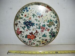 Old Vintage Flowered Daher Decorated Ware Metal Tray Platter Made in England
