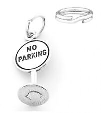 """STERLING SILVER """"NO PARKING"""" CHARM WITH ONE SPLIT RING"""