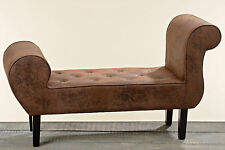UNUSUAL BENCH SEATING BENCH ETON Brown 120cm Wide Faux Leather Lounge Stool