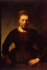 492001 Girl At An Open Half Door Rembrandt Harmenszoon Van Rijn A4 Photo Print