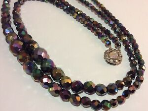 Vintage 2 Strand Faceted Aurora Borealis Peacock Carnival Glass Bead Necklace