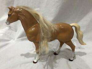 """1998 Mattel Barbie Brown Walking Horse Palomino Toy Pony Animal Rare 12"""""""